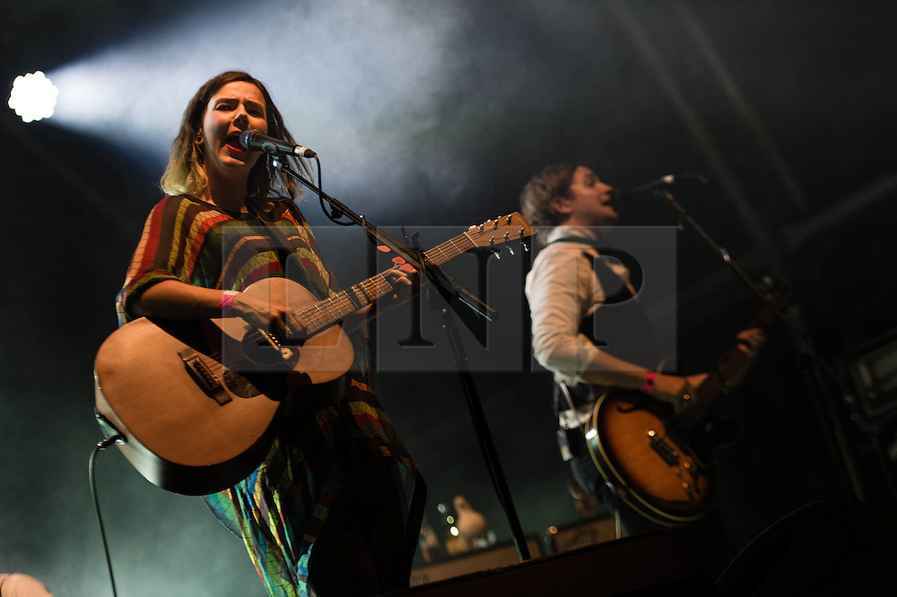 "© Licensed to London News Pictures. 16/07/2013. London, UK.   Of Monsters and Men performing live at Somerset House. In this pic - Nanna Bryndís Hilmarsdóttir (left) and Brynjar Leifsson (right).  Of Monsters and Men is a six-piece, English-language, indie folk/pop band from Iceland consisting of lead singer/guitarist Nanna Bryndís Hilmarsdóttir, co-singer/guitarist Ragnar ""Raggi"" Þórhallsson, guitarist Brynjar Leifsson, drummer Arnar Rósenkranz Hilmarsson and bassist Kristján Páll Kristjánsson.  Photo credit : Richard Isaac/LNP"