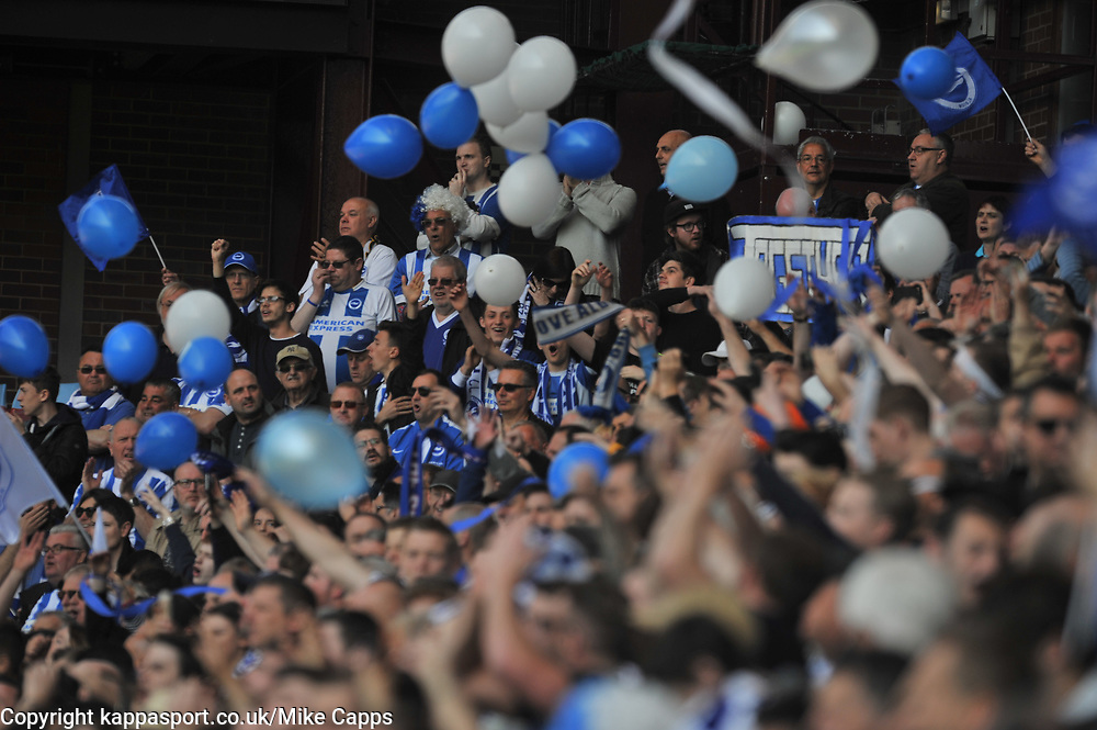 BRIGHTON FANS, Aston Villa v Brighton &amp; Hove Albion Sky Bet Championship Villa Park, Brighton Promoted to Premiership Sunday 7th May 2017 Score 1-1 <br /> Photo:Mike Capps