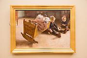 Erik Werenskiold (1855-1938) 'The Cradle' 1887 oil on panel, Kode 3 art gallery, Bergen, Norway