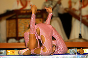 ULAN BATOR, MONGOLIA..08/22/2001.Folcloric show at Bayangol Hotel. Young contortionist girl..(Photo by Heimo Aga)