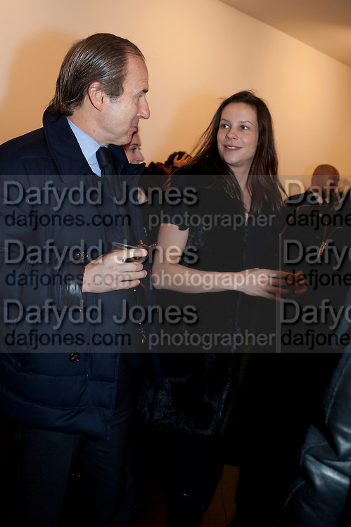 SIMON DE PURY; CHARLOTTE STOCKDALE, 'Engagement' exhibition of work by Jennifer Rubell. Stephen Friedman Gallery. London. 7 February 2011. -DO NOT ARCHIVE-© Copyright Photograph by Dafydd Jones. 248 Clapham Rd. London SW9 0PZ. Tel 0207 820 0771. www.dafjones.com.