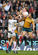 Twickenham, GREAT BRITAIN, Left,  Delon ARMITAGE and Right Tom CROFT, combine to collect the high ball, during the Investic Challenge, England vs Australia, Autumn International at Twickenham Stadium, Surrey on Sat 15.11.2008 [Photo, Peter Spurrier/Intersport-images]