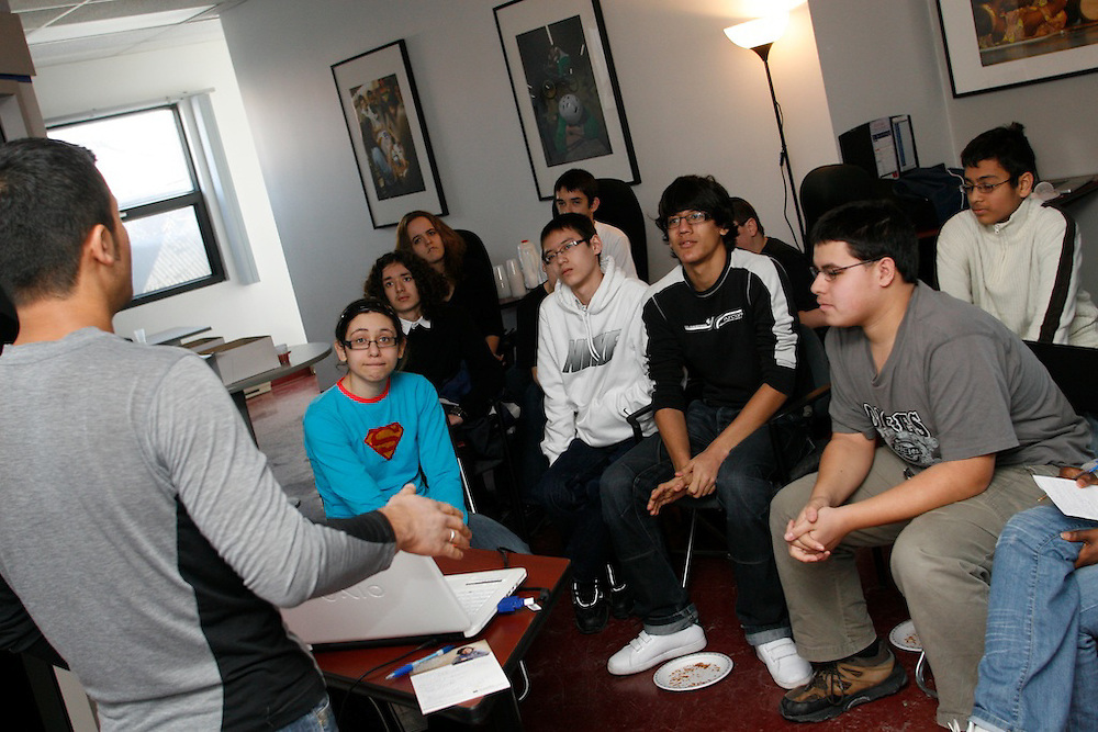 Montreal High School students gather to watch the online launch of the 2010 FIRST Robotics competition. With support from Youth Fusion - Fusion Jeunesse, four Montreal area High Schools will be participating in the competition for the first time.