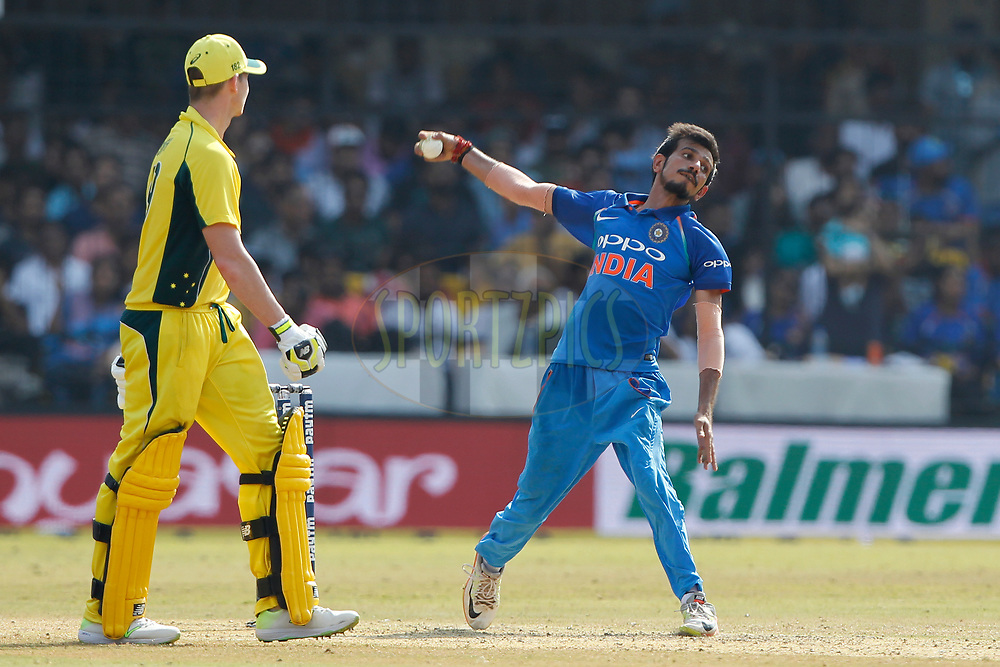 Yuzvendra Chahal of India bowls a delivery during the 3rd One Day International between India and Australia held at the Holkar Stadium in Indore on the 24th  September 2017<br /> <br /> Photo by Deepak Malik / BCCI / SPORTZPICS