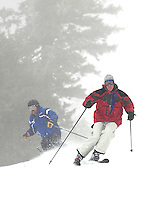 Skiers enjoyed great snow conditions coming down Trigger Trail from the Panorama Lift while skiing Sunday morning at Gunstock Mountain Resort.   (Karen Bobotas/for the Laconia Daily Sun)