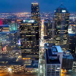 Dusk aerial view of downtown Kansas City, Missouri skyline; UAV/drone photo.