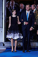 King Felipe VI of Spain, Queen Letizia of Spain leave the 'Princesa de Asturias Awards 2015 (Princess of Asturias awards)' ceremony at the Campoamor Theater on October 23, 2015 in Oviedo, Spain.