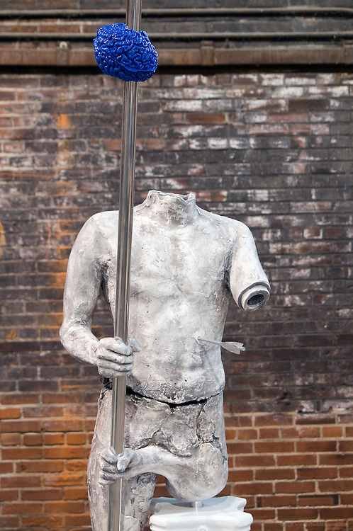 """""""Spear Bearer"""" sculpture by Matthew Weir, photographed in the studio Monday, Nov. 23, 2009 in Louisville, Ky. (Photo by Brian Bohannon)"""