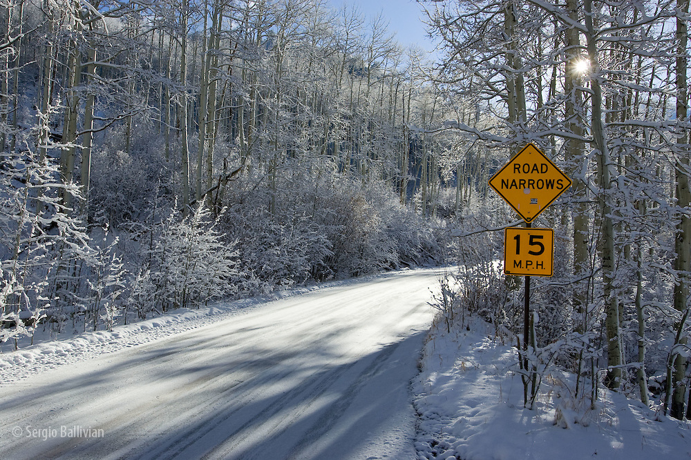 Early winter snowfall in Twin Lakes near Aspen, Colorado