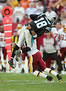 LANDOVER, MD - NOVEMBER 26:  Safety Sean Taylor #21 of the Washington Redskins jacks up wide receiver Drew Carter #18 of the Carolina Panthers after Carter catches a key fourth down pass at FedExField on November 26, 2006 in Landover, Maryland. The play short of the first down and the ball was turned over on downs to Washington. The Redskins defeated the Panthers 17-13. ©Paul Anthony Spinelli *** Local Caption *** Sean Taylor;Drew Carter