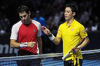 24.10.2016;  Basel; Tennis - Swiss Indoors 2016; Kei Nishikori (JPN) und Dusan Lajovic (SRB) <br /> (Steffen Schmidt/freshfocus)