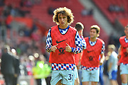 David Luiz (30) of Chelsea warming up before the Premier League match between Southampton and Chelsea at the St Mary's Stadium, Southampton, England on 7 October 2018.