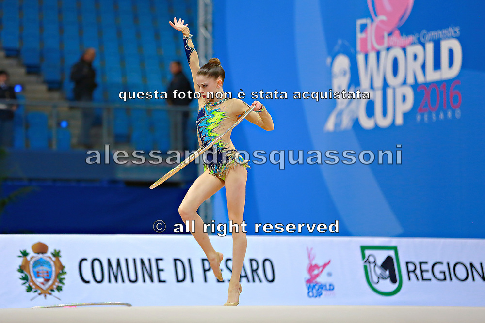 """Bevilacqua Sofia during hoop routine at the International Tournament of rhythmic gymnastics """"Città di Pesaro"""", 01 April, 2016. Sofia is an Italian individualistic gymnast, born on March 02, 2002 in Fano.<br /> This tournament dedicated to the youngest athletes is at the same time of the World Cup."""