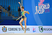 "Bevilacqua Sofia during hoop routine at the International Tournament of rhythmic gymnastics ""Città di Pesaro"", 01 April, 2016. Sofia is an Italian individualistic gymnast, born on March 02, 2002 in Fano.<br />