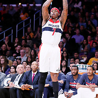 21 March 2014: Washington Wizards forward Al Harrington (7) takes a jump shot during the Washington Wizards 117-107 victory over the Los Angeles Lakers at the Staples Center, Los Angeles, California, USA.