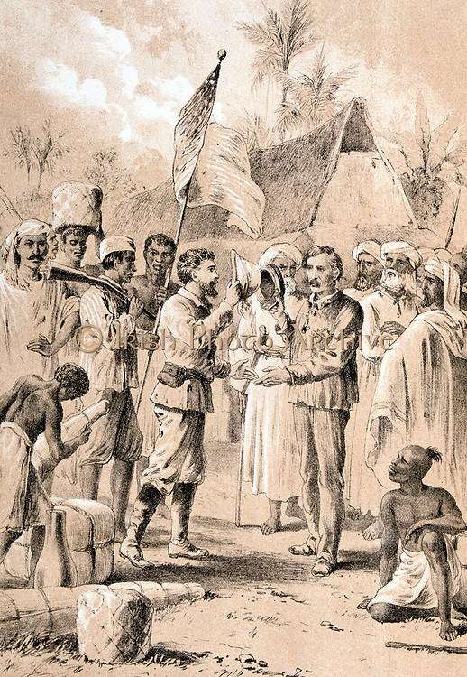 Dr Livingstone, I presume? The historic meeting between Henry Morton Stanley (1841-1904) Welsh explorer and journalist, and David Livingstone (1813-1873) Scottish missionary and African explorer, at Ujiji on the shores of Lake Tanganyika, 10 November 1871.