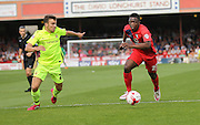 David Tutonga & Michael Duckworth during the Sky Bet League 2 match between York City and Hartlepool United at Bootham Crescent, York, England on 15 August 2015. Photo by Simon Davies.