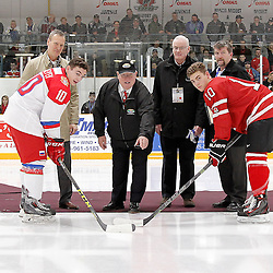 TRENTON, - Dec 10, 2015 -  Exhibition Game 3-  Russia vs Team Canada West at the 2015 World Junior A Challenge at the Duncan Memorial Gardens, ON.Ceremonial puck drop (Photo: Amy Deroche / OJHL Images)