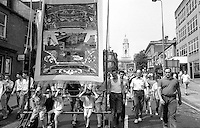 Riccall Branch banner. NUM Centenary Demonstration and Gala, Barnsley.