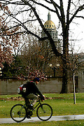 Bicycle rider near the Colorado state capital in Denver