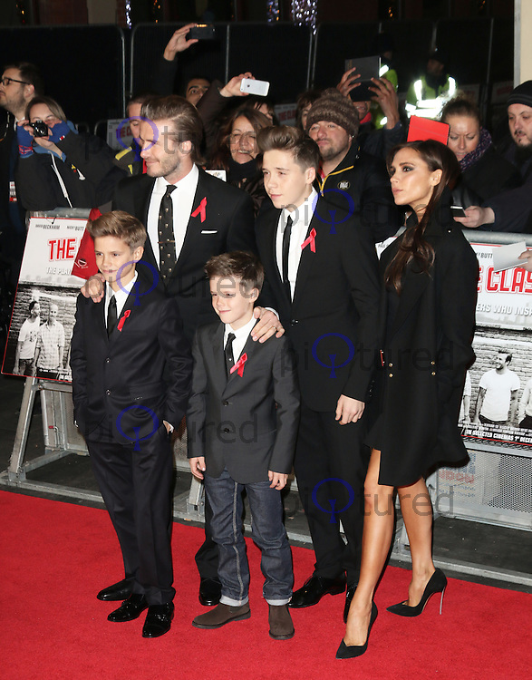 Romeo Beckham; David Beckham; Cruz Beckham; Brooklyn Beckham; Victoria Beckham, The Class of 92 - World Film Premiere, Odeon West End, Leicester Square, London UK, 01 December 2013, Photo by Richard Goldschmidt