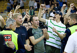 Green Dragons celebrate at third finals basketball match of Slovenian Men UPC League between KK Union Olimpija and KK Helios Domzale, on June 2, 2009, in Arena Tivoli, Ljubljana, Slovenia. Union Olimpija won 69:58 and became Slovenian National Champion for the season 2008/2009. (Photo by Vid Ponikvar / Sportida)