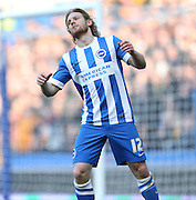 Craig Mackail-Smith, Brighton striker rues a missed chance during the Sky Bet Championship match between Brighton and Hove Albion and Wolverhampton Wanderers at the American Express Community Stadium, Brighton and Hove, England on 14 March 2015.