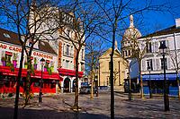 France, Paris (75), colline de Montmartre, la place du Tertre et la basilique du Sacré Coeur durant le confinement du Covid 19 // France, Paris, Montmartre, the Tertre square and the Sacré Coeur Basilica during the containment of Covid 19