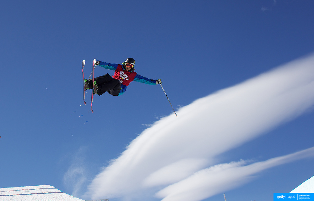 Jennifer Hudak, USA, in action in the Halfpipe Finals during The North Face Freeski Open at Snow Park, Wanaka, New Zealand, 3rd September 2011. Photo Tim Clayton...