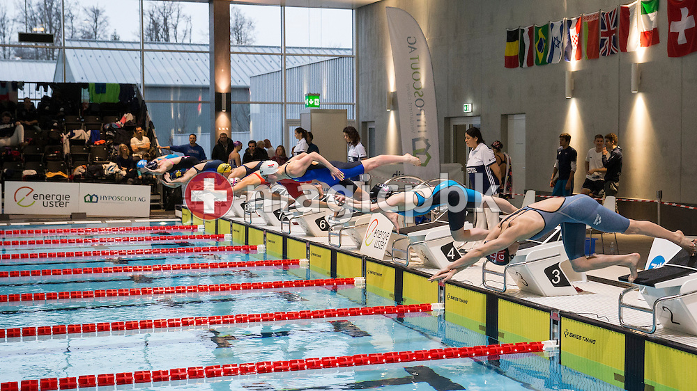 Swimmers start in the women's 50m Breaststroke Final during the International Long Course Swim Meet Uster 2017 held at the Hallenbad Buchholz in Uster, Switzerland, Sunday, Feb. 5, 2017. (Photo by Patrick B. Kraemer / MAGICPBK)