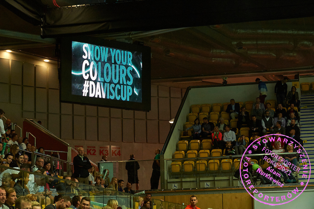 Davis Cup ITF Show your colours advertise on display board during Davis Cup Tie World Group Play-off Poland v Slovakia at Gdynia Arena Hall in Gdynia, Poland.<br /> <br /> Poland, Gdynia, September 20, 2015<br /> <br /> Picture also available in RAW (NEF) or TIFF format on special request.<br /> <br /> For editorial use only. Any commercial or promotional use requires permission.<br /> <br /> Adam Nurkiewicz declares that he has no rights to the image of people at the photographs of his authorship.<br /> <br /> Mandatory credit:<br /> Photo by &copy; Adam Nurkiewicz / Mediasport