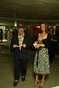 David Bailey and Catherine, Beyond Belief-Damien Hirst. White Cube Hoxton and Mason's Yard.Party  afterwards at the Dorchester. Park Lane. 2 June 2007.  -DO NOT ARCHIVE-© Copyright Photograph by Dafydd Jones. 248 Clapham Rd. London SW9 0PZ. Tel 0207 820 0771. www.dafjones.com.