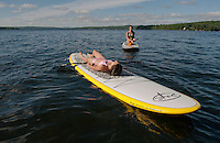 Lake Winnisquam water skiing, paddle boarding session with Cantin's.  ©2014 Karen Bobotas Photographer