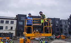 © Licensed to London News Pictures. 22/11/2019. Sheffield, UK. Liberal Democrat Leader Jo Swinson, rides a cherry picker lift as she visits the Little Kelham eco house building project during a General Election campaign trail stop in Sheffield. Britain will go to the polls on December 12, 2019 to vote in a pre-Christmas general election. Photo credit: Ioannis Alexopoulos /LNP