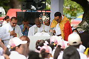 CARTAGENA,COLOMBIA 10 SEPT, 2017: Pope Francis arrives to bless the cornerstone of the House for the Homeless and the work of Talitha Qum in St. Francis of Assisi Square in Cartagena, Colombia.