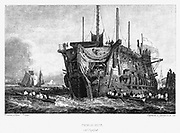 Prison hulk at Deptford. These convict hulks were an intermediate confinement between an ordinary gaol or transportation.  Prisoners were used as labourers in the naval dockyards and can be seen here being taken by boat to their work. Hulks (Tenders) were
