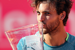 May 6, 2018 - Estoril, Portugal - Joao Sousa of Portugal kisses the trophy after winning the Millennium Estoril Open ATP 250 tennis tournament final against Frances Tiafoe of US, at the Clube de Tenis do Estoril in Estoril, Portugal on May 6, 2018. (Joao Sousa won 2-0) (Credit Image: © Pedro Fiuza/NurPhoto via ZUMA Press)