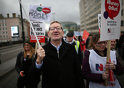 © Licensed to London News Pictures. 09/01/2016. London, UK. Len McCluskey, General Secretary of Unite, takes part in a rally against the proposed cancellation of bursaries for nurses hoping to train for work in the NHS.  Photo credit: Peter Macdiarmid/LNP