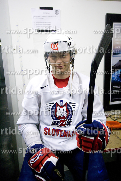 Andrej Hebar at first practice of Slovenian National Ice hockey team before World championship of Division I - group B in Ljubljana, on April 5, 2010, in Hala Tivoli, Ljubljana, Slovenia.  (Photo by Vid Ponikvar / Sportida)