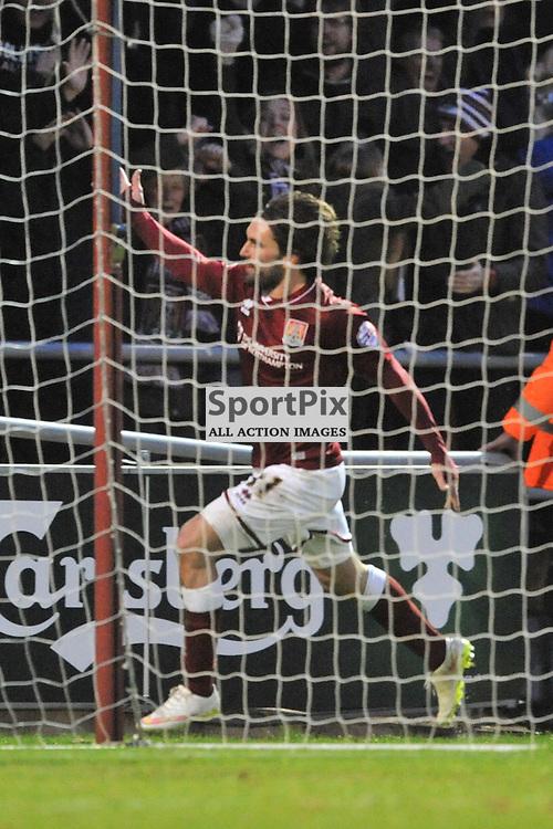 Northamptons Ricky Holmes Celebrates His Second Goal, Northampton Town v MK Dons, FA Cup 3rd Round,  Sixfiels Stadium, Saturday 9th January 2016