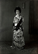 wedding photo of bride in traditional kimono Japan 1950s