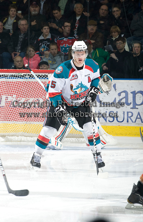KELOWNA, CANADA, JANUARY 1: Mitchell Chapman #5 of the Kelowna Rockets skates on the ice as the Calgary Hitmen visit the Kelowna Rockets on January 1, 2012 at Prospera Place in Kelowna, British Columbia, Canada (Photo by Marissa Baecker/Getty Images) *** Local Caption ***