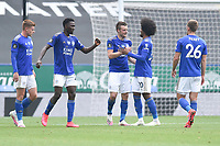 LEICESTER, ENGLAND - JULY 04: Jamie Vardy of Leicester City (centre) celebrates with Hamza Choudhury of Leicester City (right) after scoring his sides second goal and his sides third during the Premier League match between Leicester City and Crystal Palace at The King Power Stadium on July 4, 2020 in Leicester, United Kingdom. Football Stadiums around Europe remain empty due to the Coronavirus Pandemic as Government social distancing laws prohibit fans inside venues resulting in all fixtures being played behind closed doors. (Photo by MB Media)