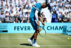Nick Kyrgios reacts during day five of the Fever-Tree Championship at the Queen's Club, London.