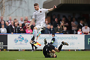 AFC Wimbledon goalkeeper James Shea (1) gathers from Northampton Town striker Michael Smith (24) during the EFL Sky Bet League 1 match between AFC Wimbledon and Northampton Town at the Cherry Red Records Stadium, Kingston, England on 11 March 2017. Photo by Stuart Butcher.