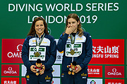 Women's Syncronised 3m dive podium presentation with Anabelle Smith of Australia (left) and Maddison Keeney of Australia with their  Gold Medals during the FINA/CNSG Diving World Series 2019 at London Aquatics Centre, London, United Kingdom on 17 May 2019.