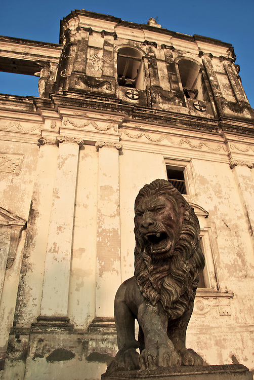 A stone Lion guards the front entrance to the Cathedral of Leon, Nicaragua (The largest cathedral in all of Central America)