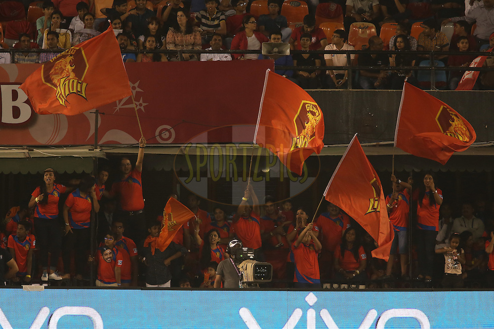 Gujarat Lions fans celebrate a boundary during match 3 of the Vivo Indian Premier League (IPL) 2016 between the Kings XI Punjab and the Gujarat Lions held at the IS Bindra Stadium, Mohali, India on the 11th April 2016<br /> <br /> Photo by Shaun Roy/ IPL/ SPORTZPICS