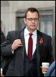 The Prime Minister David Cameron's ex spin doctor Andy Coulson arrives at the The Old Bailey, London, United Kingdom, for the Phone Hacking Trial.  Thursday, 31st October 2013. Picture by Andrew Parsons / i-Images
