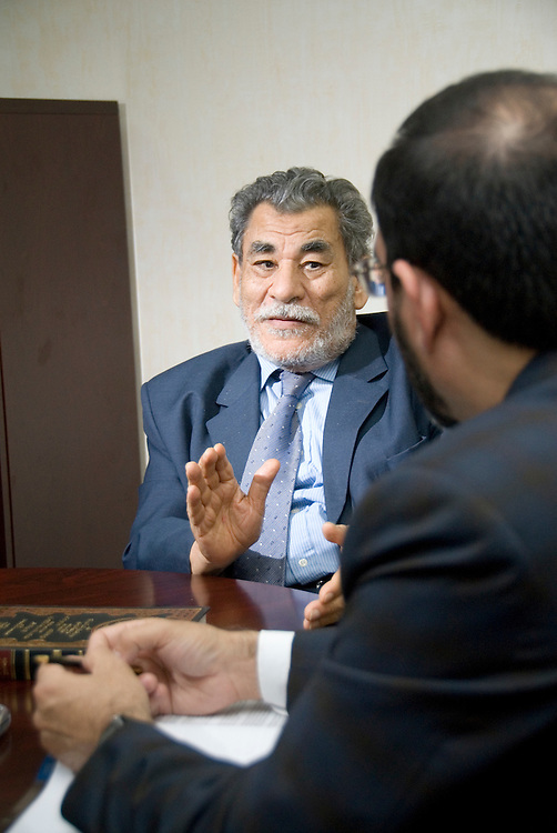 Dr. Hussain Hamed Hassan(left), Chairman - Shariah Board, Dubai Islamic Bank Group, discusses a case with Sohail Zubairi (right), Vice President and Head - Shariah Coordination Department, Dubai Islamic Bank Group on Monday, March 5, 2007 in Dubai, United Arab Emirates. Dr. Hassan chairs Shariah supervision boards of several Islamic financial institutions and is a leading academic in the field of Shariah and comparative law.